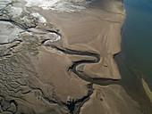 Aerial shot of The Pill River, Devon, UK