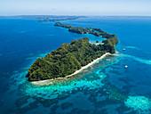 Aerial shot of Ulong island complex, Palau