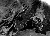 Western Europe at night, satellite image