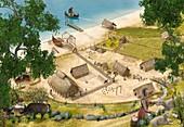 Viking village in Summer, illustration