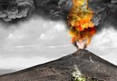 Erupting volcano, illustration