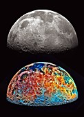 Soil composition of the Moon, Galileo spacecraft images