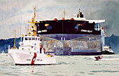 Exxon Valdez transportation for repair, illustration