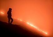 Pacaya lava flow at night, Guatemala