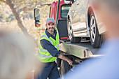 Roadside mechanic towing car