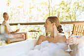 Women relaxing together in spa