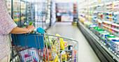 Woman pushing full shopping cart