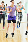 Aerobics class jumping