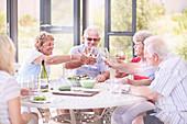 Senior adults toasting wine glasses