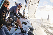 Retired couple sailing