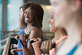 Portrait smiling woman exercising
