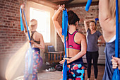 Women using resistance bands