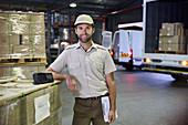 Portrait truck driver worker