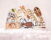 Concept baking utensils forming bread loaf
