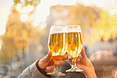 Couple toasting beer glasses at autumn cafe