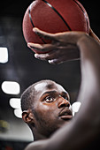 Close up focused basketball player