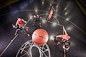 Overhead view basketball player shooting free