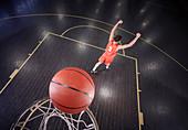 Confident basketball player shooting the ball