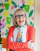 Portrait happy, enthusiastic active senior woman