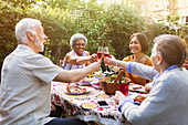 Senior friends toasting at garden party