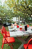 Table set for dinner garden party