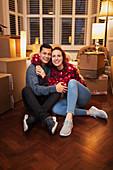 Portrait happy, couple moving house