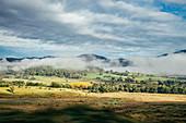 View sunny autumn landscape and fog Australia