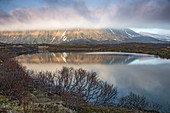 View mountain and lake Bleik Andenes Vesteralen Norway