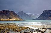 View mountains and ocean Flakstadpollen Lofoten Norway