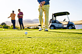 Male golfer preparing to tee off on sunny golf course