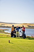 Male golfer friends talking at sunny lakeside golf course