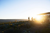 Safari tour group on sunny hill at sunrise South Africa