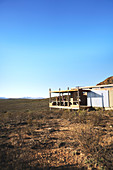 Friends on sunny remote safari cabin balcony South Africa