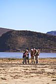 Safari tour group on sunny wildlife reserve South Africa
