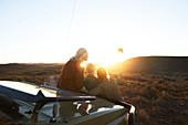 Senior women friends on safari taking selfie