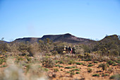 Group walking to off-road vehicle sunny wildlife reserve