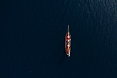 View from above ship sailing on Atlantic Ocean