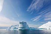 Iceberg formations on blue Atlantic Ocean Greenland