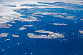 Aerial view melting polar ice cap Greenland