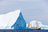 Ship sailing past majestic icebergs on