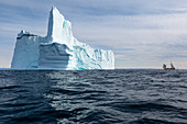 Majestic iceberg formation on blue