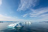 Melting polar ice on blue Atlantic Ocean Greenland