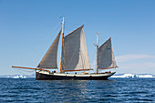 Ship sailing on arctic Atlantic Ocean Greenland
