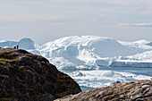 Scenic view polar glacial ice Disko Bay West Greenland