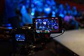 View of audience on digital camera viewfinder