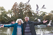 Playful senior couple watching flying birds at pond in park