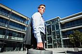 Businessman outside building