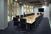 Empty conference room at night