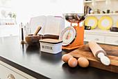 Baking ingredients on kitchen counter