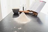 Flour heap on kitchen counter